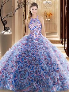 Deluxe High-neck Sleeveless Brush Train Criss Cross Sweet 16 Quinceanera Dress Multi-color Fabric With Rolling Flowers