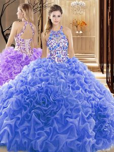 Blue Backless High-neck Embroidery and Ruffles 15th Birthday Dress Organza Sleeveless Court Train