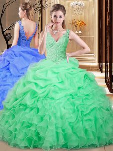 Backless Floor Length Apple Green 15 Quinceanera Dress Organza Sleeveless Lace and Appliques and Pick Ups