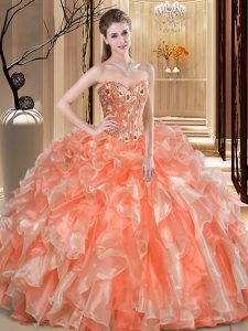 Edgy Sweetheart Sleeveless Organza Quinceanera Dress Beading and Ruffles Lace Up