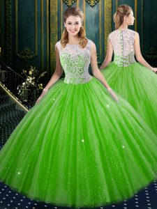 Superior Sleeveless Tulle Zipper Sweet 16 Quinceanera Dress for Military Ball and Sweet 16 and Quinceanera