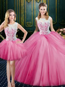 Attractive Three Piece Scoop Pink Tulle Zipper Quinceanera Gowns Sleeveless Floor Length Lace and Pick Ups