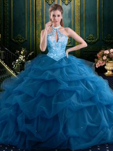 Halter Top Floor Length Navy Blue Quinceanera Dress Tulle Sleeveless Beading and Pick Ups