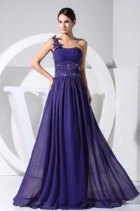One Shoulder Beaded Dark Purple Prom Dress with Hand Made Flowers on Sale