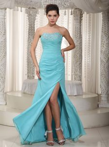 Light Blue Empire Sweetheart Chiffon Beaded and Ruched Prom Dress on Sale