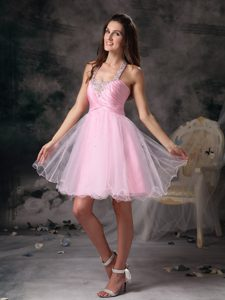 Pink Column Straps Short Mini-length Prom Dress with Beading on Promotion