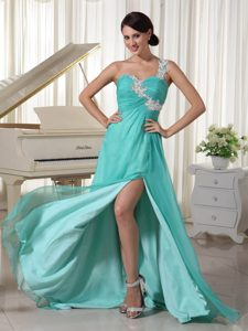 Appliques Decorated One Shoulder Chiffon Prom Dress with High Slit for Cheap