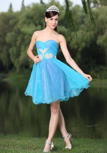 Beaded Aqua Blue Prom Party Dress with Hand Made Flowers on Sale