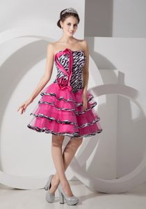 Sweet Zebra Printed Strapless Mini-length 2013 Prom Dress on Wholesale Price