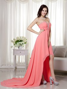 New Watermelon Sweetheart High-low Chiffon Beaded and Ruched Prom Dress