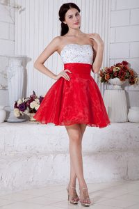 Red and White A-line Strapless Short Beaded Mini-length Prom Dress