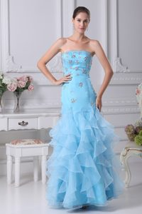 Simple Strapless Ruffled Prom Bridesmaid Dress to Ankle-length in Aqua Blue