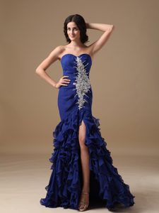 Royal Blue Sweetheart Brush Train Ruched Appliqued Chiffon Prom Dress with Ruffles