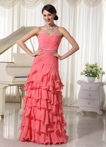 Ruched Beaded Sweetheart Long Chiffon Watermelon Prom Dress with Layers