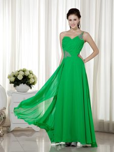 Spring Green One Shoulder Long Chiffon Beaded Prom Dresses with Ruching