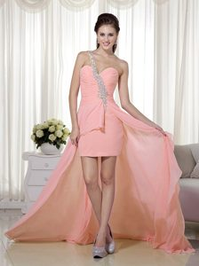 One Shoulder Brush Train High-low Ruched Peach Prom Party Dresses with Appliques
