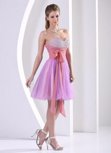Sweetheart Knee-length Lilac Tulle Prom Pageant Dresses with Beading and Sash