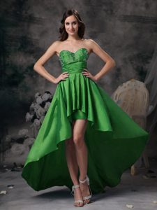 Green Sweetheart High-low Prom Pageant Dress with Appliques on Promotion