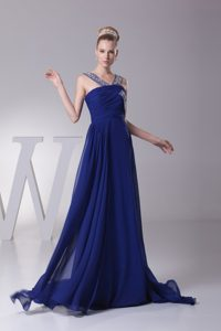 Cheap Beaded Straps Brush Train Royal Blue Chiffon Prom Evening Dress with Ruching