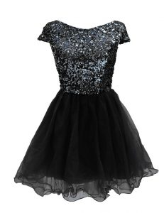 High End Black A-line Sequins Cocktail Dress Zipper Chiffon Cap Sleeves Mini Length