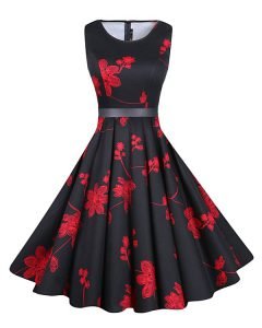 Comfortable Chiffon Scoop Sleeveless Zipper Sashes ribbons and Pattern Club Wear in Red And Black