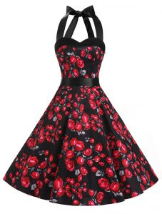 Halter Top Knee Length Red And Black Club Wear Chiffon Sleeveless Sashes ribbons and Pattern