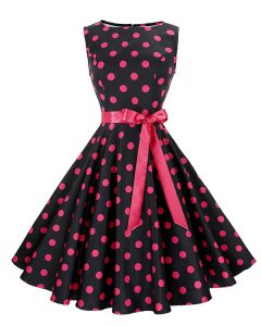 Scoop Sleeveless Knee Length Sashes ribbons and Pattern Zipper Cocktail Dresses with Red And Black