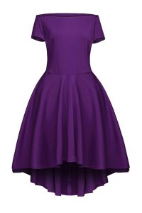 Beauteous Tea Length A-line Short Sleeves Purple Club Wear Side Zipper