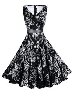 Sleeveless Chiffon Knee Length Zipper Cocktail Dresses in Black with Sashes ribbons and Pattern