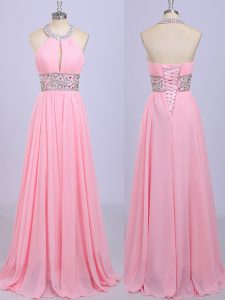 Empire Prom Party Dress Rose Pink Halter Top Chiffon Sleeveless Floor Length Zipper