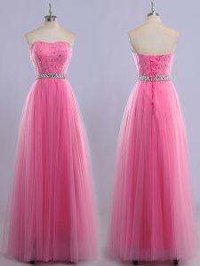 Chic Sleeveless Tulle Floor Length Lace Up Prom Dress in Rose Pink with Beading