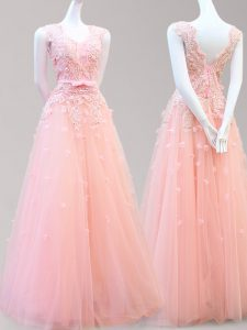 Great Floor Length A-line Sleeveless Baby Pink Evening Dress Lace Up