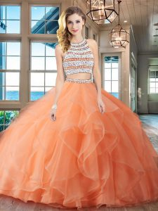 Most Popular Scoop Sleeveless With Train Beading and Ruffles Backless Vestidos de Quinceanera with Orange Brush Train