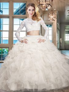 Scoop Long Sleeves Organza Quince Ball Gowns Beading and Lace and Ruffles Zipper