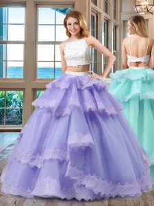 New Style Lavender Backless Straps Beading Sweet 16 Dress Tulle Sleeveless