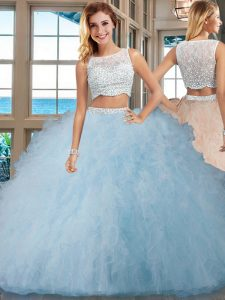 Sleeveless Tulle Floor Length Side Zipper Sweet 16 Dresses in Light Blue with Beading and Ruffles
