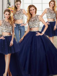 Four Piece Scoop Cap Sleeves With Train Backless 15th Birthday Dress Navy Blue for Military Ball and Sweet 16 and Quinceanera with Beading Brush Train