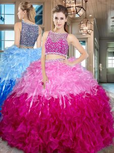 Great Multi-color Organza Side Zipper Bateau Sleeveless Floor Length 15th Birthday Dress Beading and Ruffles