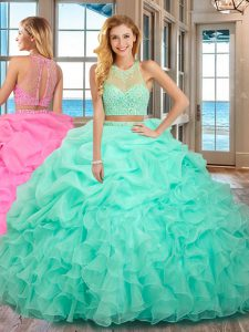 Apple Green Organza Lace Up Sweet 16 Dresses Sleeveless Floor Length Beading and Ruffles