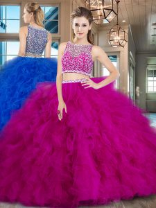 Latest With Train Side Zipper 15th Birthday Dress Fuchsia for Military Ball and Sweet 16 and Quinceanera with Beading and Ruffles Brush Train