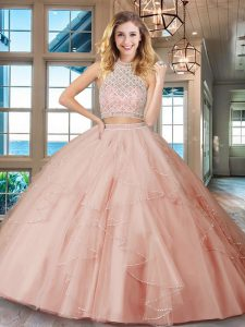 Cute Pink Halter Top Neckline Beading and Ruffles Quinceanera Dresses Sleeveless Backless