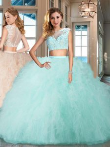 Clearance Tulle Bateau Cap Sleeves Zipper Appliques and Ruffles Quinceanera Gown in Aqua Blue