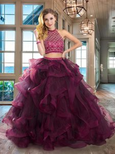 Top Selling Halter Top Sleeveless Brush Train Backless Beading and Ruffles Sweet 16 Quinceanera Dress