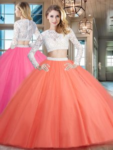 Scoop Watermelon Red Long Sleeves Tulle Zipper Quince Ball Gowns for Military Ball and Sweet 16 and Quinceanera