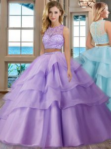 Luxury Ruffled Scoop Sleeveless Zipper Vestidos de Quinceanera Lavender Tulle