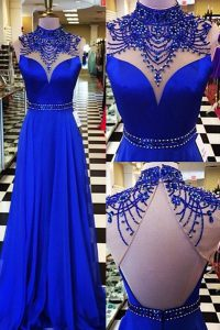 Fancy Sleeveless Chiffon Sweep Train Backless Dress for Prom in Royal Blue with Beading