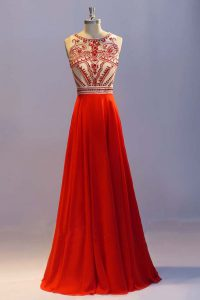Modest Chiffon Scoop Sleeveless Side Zipper Beading and Pleated in Coral Red