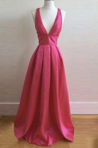 Sleeveless Floor Length Pleated Criss Cross Juniors Party Dress with Hot Pink