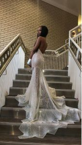 Fine Mermaid Silver Lace Backless Halter Top Sleeveless Prom Dress Court Train Lace