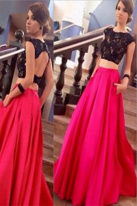 Adorable Scoop Backless Pink And Black for Prom and Party with Lace Brush Train
